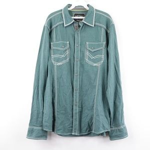 BKE Buckle Mens Large Double Pocket Shirt Green